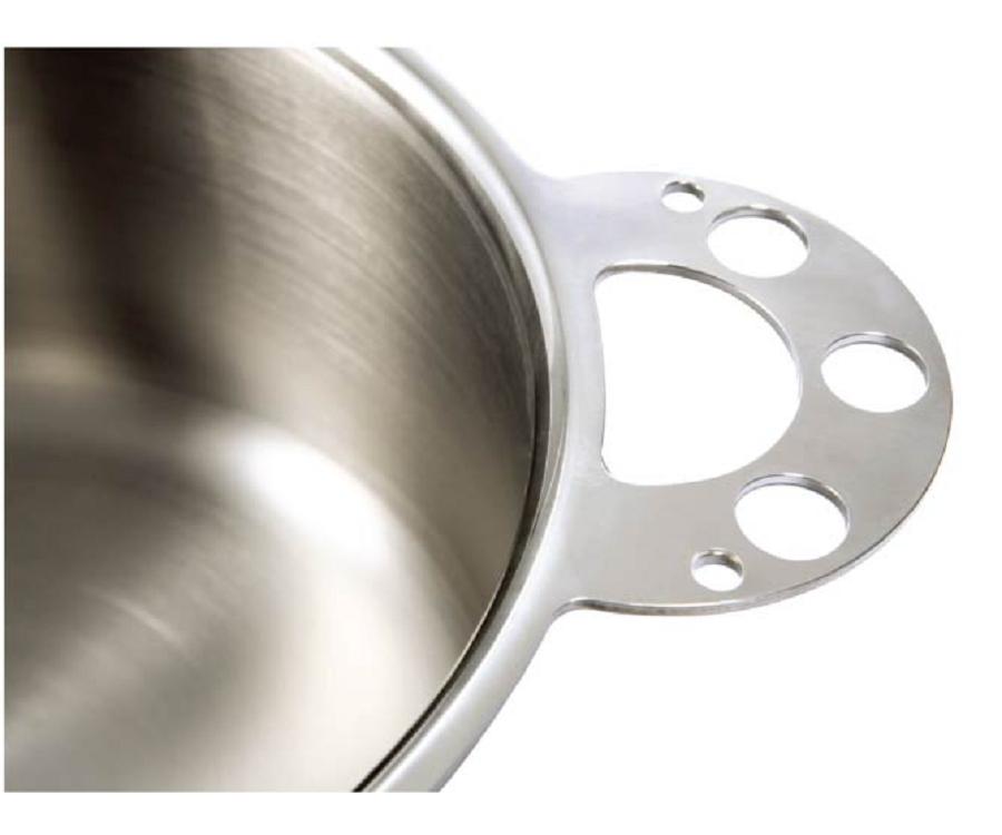 獨家專利鍋身鍋耳一體成型,永不脫落、好清洗